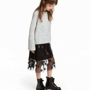 H&M girls black tulle skirt with glittered dots